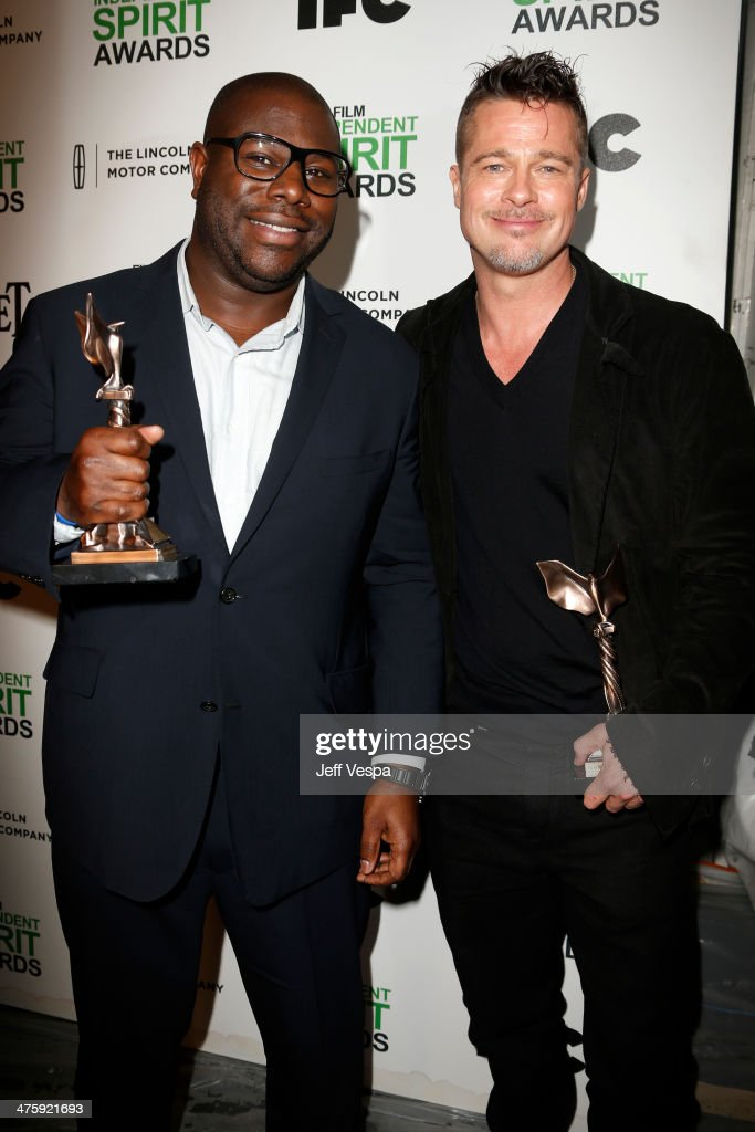 Director Steve McQueen and actor Brad Pitt attend the 2014 Film Independent Spirit Awards at Santa Monica Beach on March 1, 2014 in Santa Monica, California.