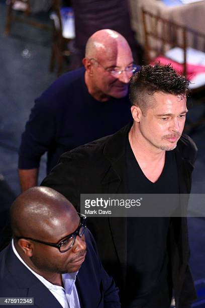 Director Steve McQueen and actor Brad Pitt during the 2014 Film Independent Spirit Awards at Santa Monica Beach on March 1 2014 in Santa Monica...