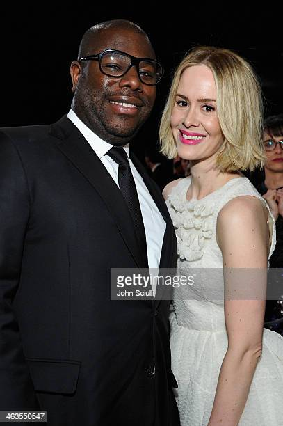 Director Steve McQueen and actress Sarah Paulson attend the 20th Annual Screen Actors Guild Awards at The Shrine Auditorium on January 18 2014 in Los...