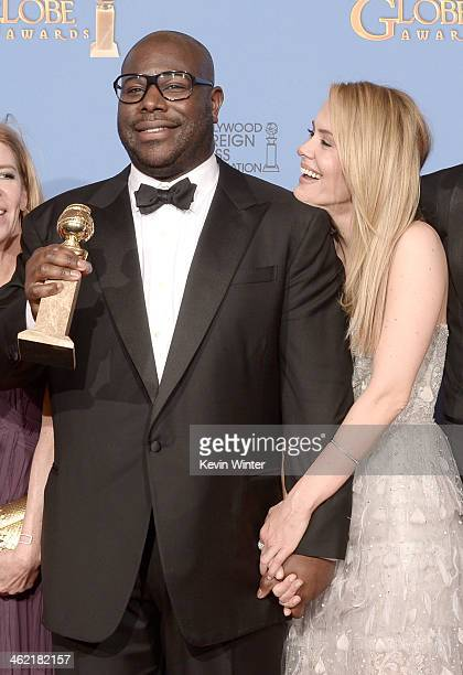 Director Steve McQueen and actress Sarah Paulson winners of Best Motion Picture Drama for '12 Years a Slave' pose in the press room during the 71st...