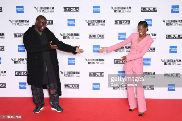 Director Steve McQueen and Letitia Wright attend the BFI London Film Festival opening film and premiere of Mangrove at the BFI on October 7, 2020 in...