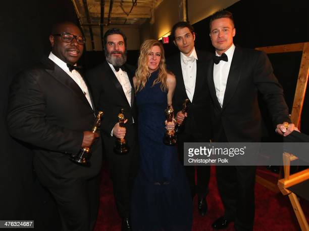 Director Steve McQueen producers Anthony Katagas Dede Gardner Jeremy Kleiner and Brad Pitt winners of Best Motion Picture of the Year backstage...