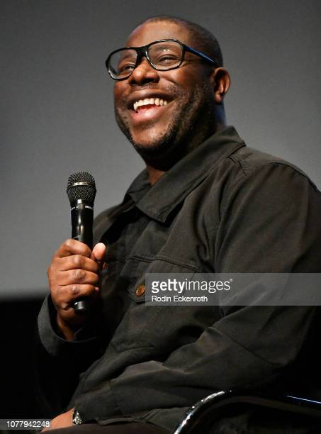 """Director Steve McQueen speaks onstage at MoMA Contenders 2018 Screening and Q&A of """"Widows"""" at Hammer Museum on December 05, 2018 in Los Angeles,..."""
