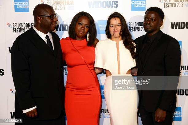 Director Steve McQueen Viola Davis Michelle Rodriguez and Daniel Kaluuya attend the European Premiere of Widows and opening night gala of the 62nd...