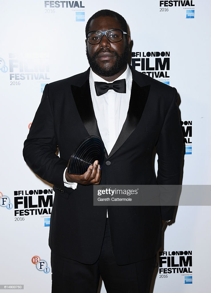 Director Steve McQueen with his BFI Fellowship award at the BFI London Film Festival awards during the 60th BFI London Film Festival at Banqueting House on October 15, 2016 in London, England.