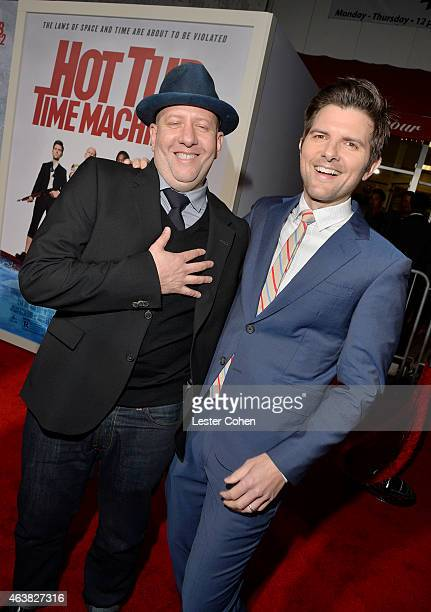 Director Steve Pink and Actor Adam Scott attend the premiere of Paramount Pictures' 'Hot Tub Time Machine 2' at Regency Village Theatre on February...