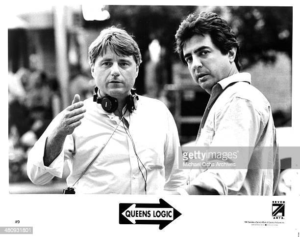 Director Steve Rash and actor Joe Mantegna on set for the movie 'Queens Logic' circa 1991
