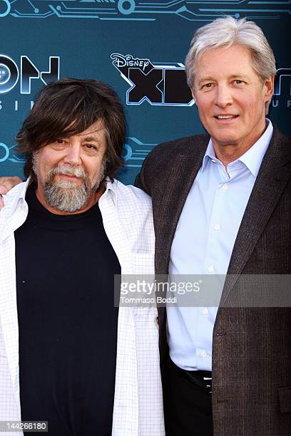 Director Steven Lisberger and Bruce Boxleitner attend the Disney XD's TRON Uprising press event and reception held at the DisneyToon Studios on May...