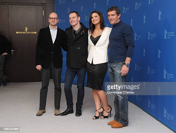Director Steven Soderbergh actors Michael Fassbender Gina Carano and Antonio Banderas attend the Haywire Photocall during day seven of the 62nd...