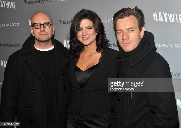 """Director Steven Soderbergh, actress Gina Carano, and actor Ewan McGregor attend the Cinema Society & Blackberry Bold screening of """"Haywire"""" at..."""