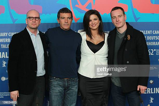 Director Steven Soderbergh and actors Antonio Banderas Gina Carano and Michael Fassbender attend the Haywire Press Conference during day seven of the...