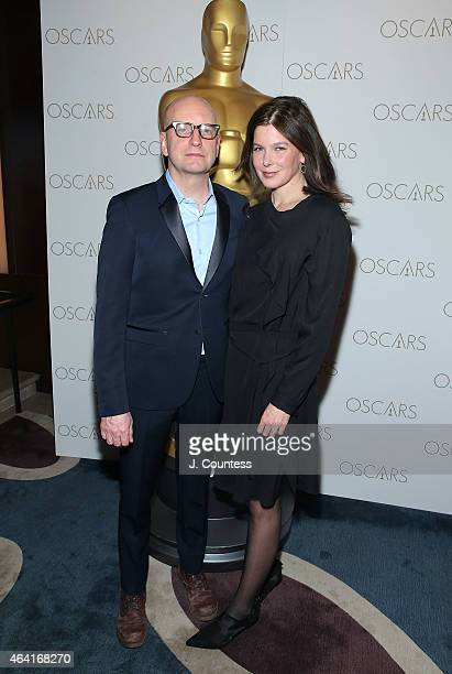 Director Steven Soderbergh and Jules Asner attend the Academy Of Motion Picture Arts And Sciences 87th Oscars viewing party and dinner at Daniel on...