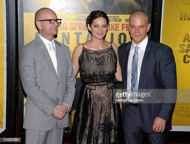 """Director Steven Soderbergh, Marion Cotillard and Matt Damon attend the """"Contagion"""" premiere at the Rose Theater, Jazz at Lincoln Center on September..."""