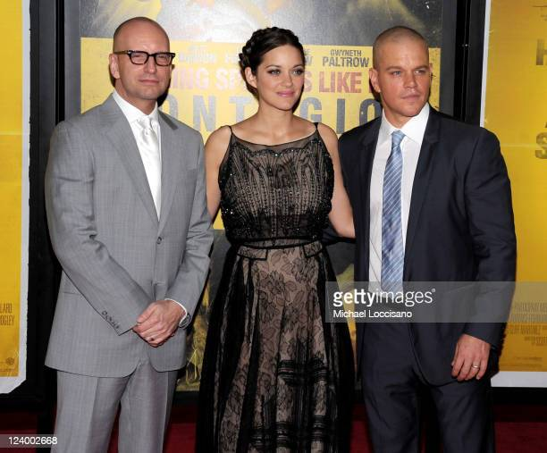 Director Steven Soderbergh Marion Cotillard and Matt Damon attend the 'Contagion' premiere at the Rose Theater Jazz at Lincoln Center on September 7...