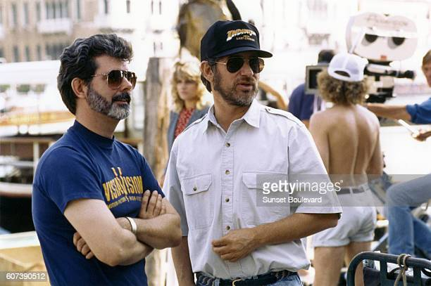 Director Steven Speilberg and producer George Lucas on the set of Indiana Jones and the Last Crusade