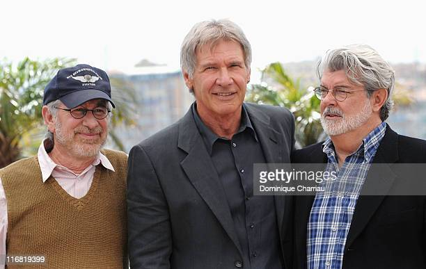 Director Steven Spielberg actor Harrison Ford and writer George Lucas attend the Indiana Jones and the Kingdom of the Crystal Skull photocall at the...