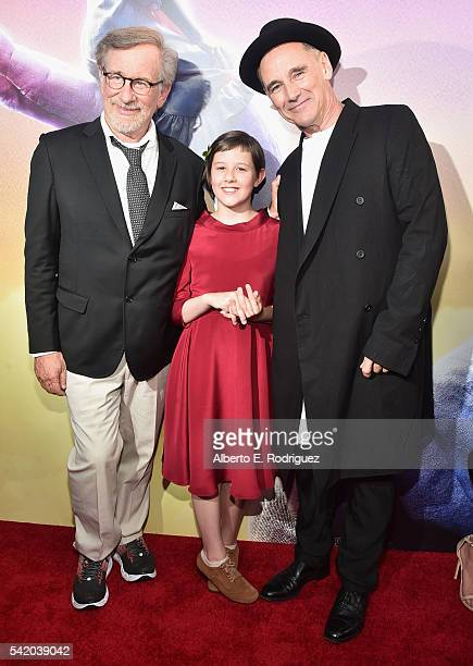 Director Steven Spielberg actors Ruby Barnhill and Mark Rylance arrive on the red carpet for the US premiere of Disney's The BFG directed and...