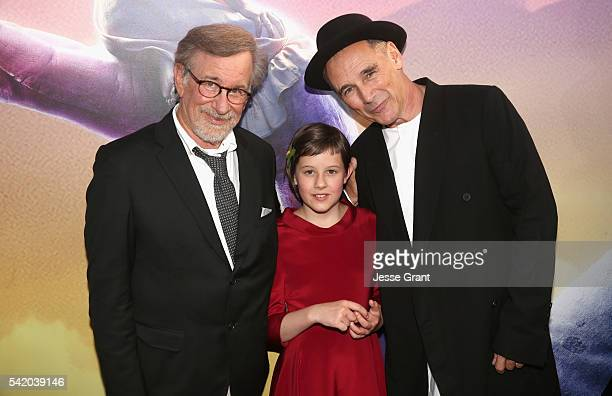 Director Steven Spielberg actress Ruby Barnhill and actor Mark Rylance arrive on the red carpet for the US premiere of Disney's The BFG directed and...