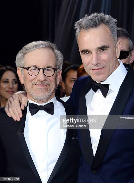 Director Steven Spielberg and actor Daniel DayLewis arrive at the Oscars at Hollywood Highland Center on February 24 2013 in Hollywood California