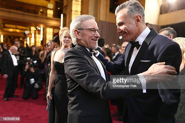 Director Steven Spielberg and actor Daniel DayLewis arrive at the Oscars held at Hollywood Highland Center on February 24 2013 in Hollywood California