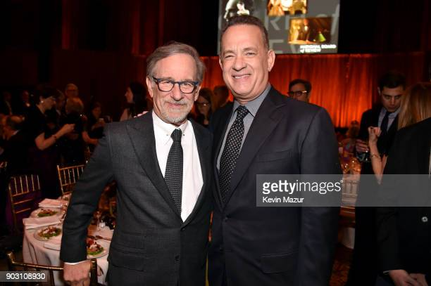 Director Steven Spielberg and actor Tom Hanks attend the The National Board Of Review Annual Awards Gala at Cipriani 42nd Street on January 9 2018 in...