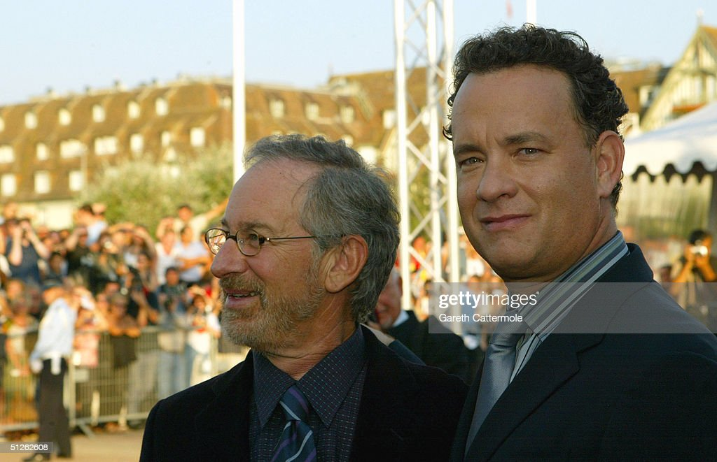 Director Steven Spielberg and actor Tom Hanks attends the 'The Terminal' premiere at the 30th Deauville American Film Festival on September 4, 2004 in Deauville, France.