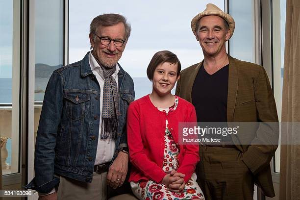 Director Steven Spielberg and actors Mark Rylance and Ruby Barnhill are photographed for The Hollywood Reporter on May 14, 2016 in Cannes, France.