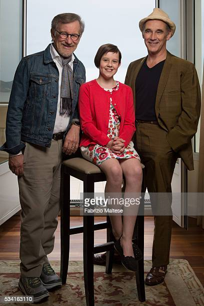 Director Steven Spielberg and actors Mark Rylance and Ruby Barnhill are photographed for The Hollywood Reporter on May 14 2016 in Cannes France