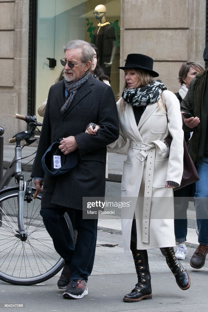 Director Steven Spielberg (L) and actress Kate Capshaw (R) are seen on Rue du Faubourg Saint Honore on January 12, 2018 in Paris, France.