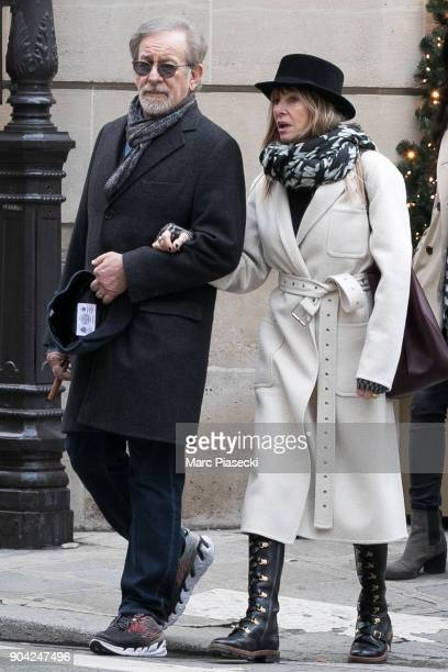 Director Steven Spielberg and actress Kate Capshaw are seen on Rue du Faubourg Saint Honore on January 12 2018 in Paris France