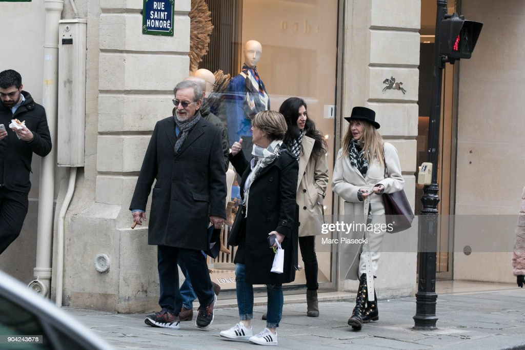 Director Steven Spielberg (L) and actress Kate Capshaw (R) are seen on Rue Saint Honore on January 12, 2018 in Paris, France.