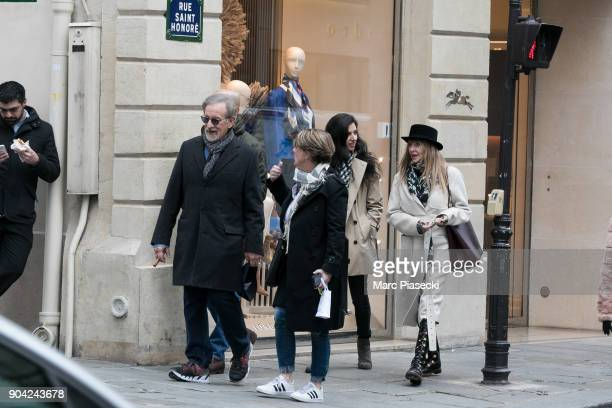Director Steven Spielberg and actress Kate Capshaw are seen on Rue Saint Honore on January 12 2018 in Paris France