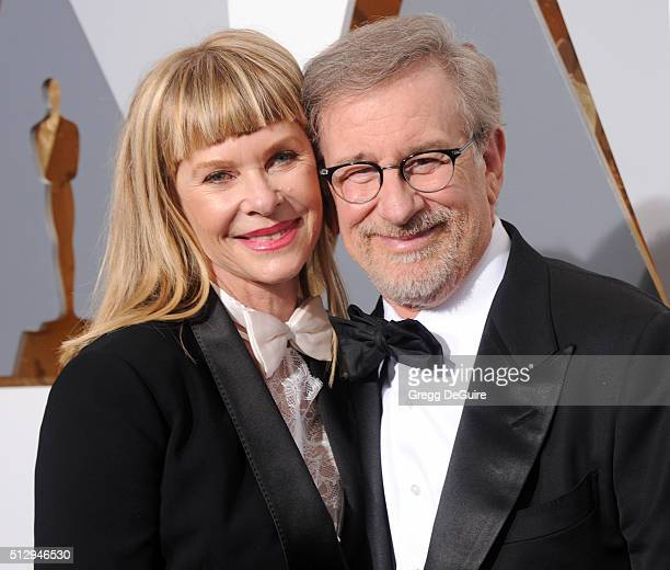 Director Steven Spielberg and actress Kate Capshaw arrive at the 88th Annual Academy Awards at Hollywood & Highland Center on February 28, 2016 in...