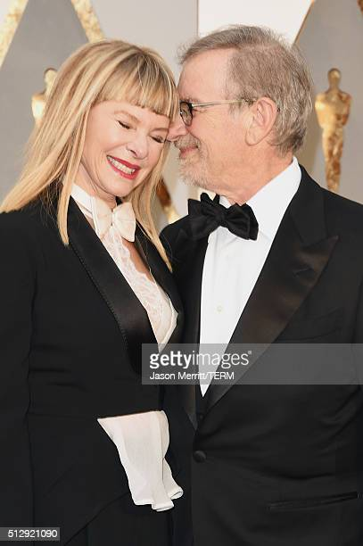 Director Steven Spielberg and actress Kate Capshaw attend the 88th Annual Academy Awards at Hollywood Highland Center on February 28 2016 in...
