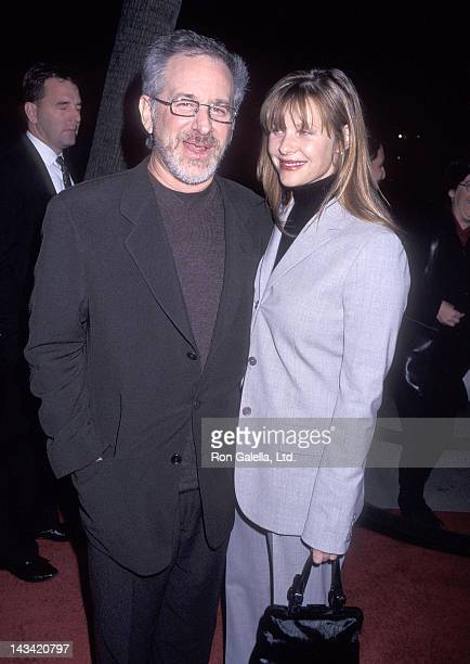 Director Steven Spielberg and actress Kate Capshaw attend the Amistad Beverly Hills Premiere on December 8 1997 at the Samuel Goldwyn Theatre in...
