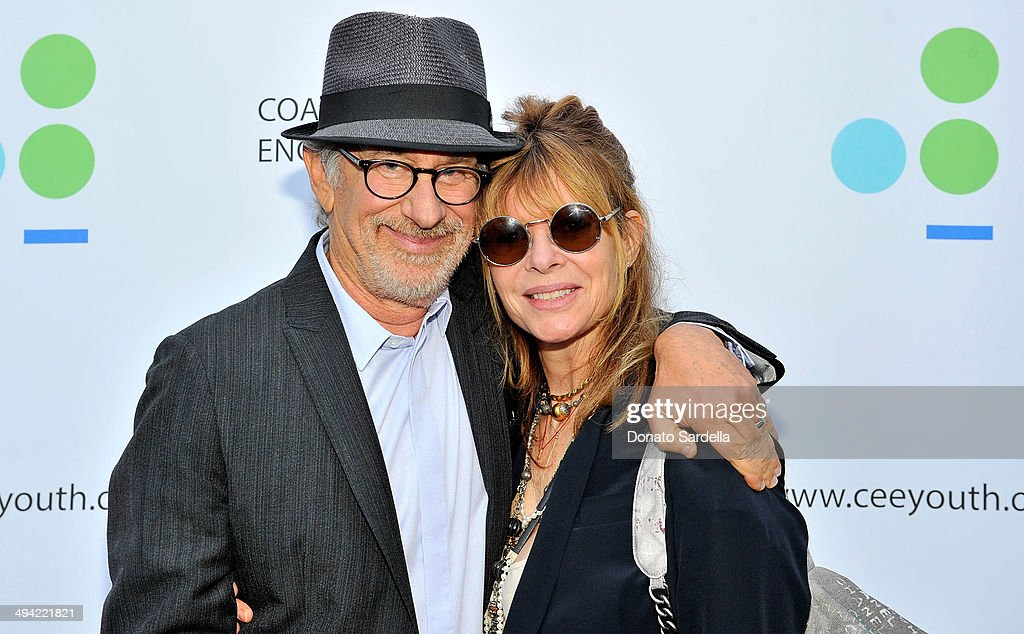 Director Steven Spielberg (L) and actress Kate Capshaw attend the first annual Poetic Justice Fundraiser for the Coalition For Engaged Education at the Herb Alpert Educational Village on May 28, 2014 in Santa Monica, California.