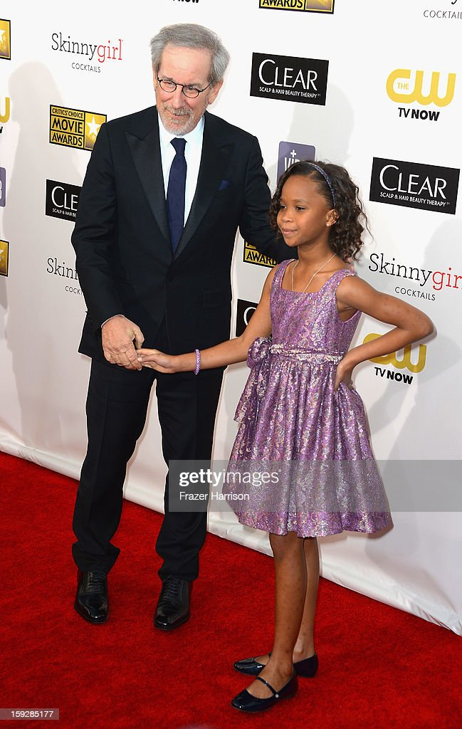Director Steven Spielberg and actress Quvenzhané Wallis arrive at the 18th Annual Critics' Choice Movie Awards at Barker Hangar on January 10, 2013 in Santa Monica, California.