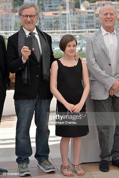 """Director Steven Spielberg and actress Ruby Barnhill attend """"The BFG """" photocall during the 69th annual Cannes Film Festival at the Palais des..."""