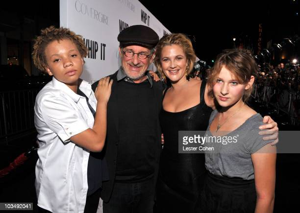 Director Steven Spielberg and actress/director Drew Barrymore arrive on the red carpet at the Los Angeles premiere of Whip It at the Grauman's...