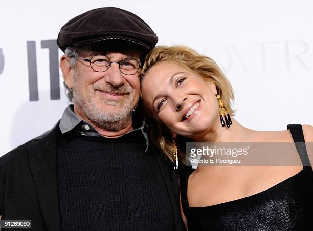 Director Steven Spielberg and actress/director Drew Barrymore arrive at the premiere of Fox Searchlight's Whip It on September 29 2009 in Los Angeles...