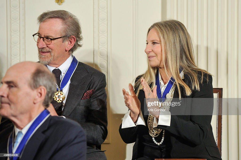 Director Steven Spielberg and Barbra Streisand listen as President Barack Obama speaks during the 2015 Presidential Medal Of Freedom ceremony at the White House on November 24, 2015 in Washington, DC.