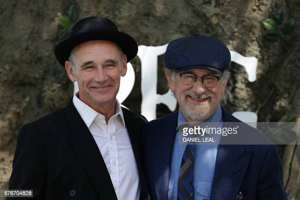 US director Steven Spielberg and British actor Mark Rylance pose as they arrive to attend the UK premeiere of the film The BFG in Leicester Square...