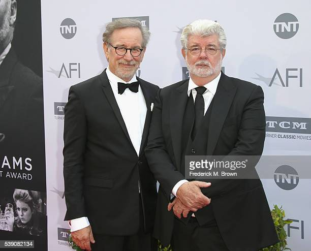 Director Steven Spielberg and filmmaker George Lucas arrive at the American Film Institute's 44th Life Achievement Award Gala Tribute to John...