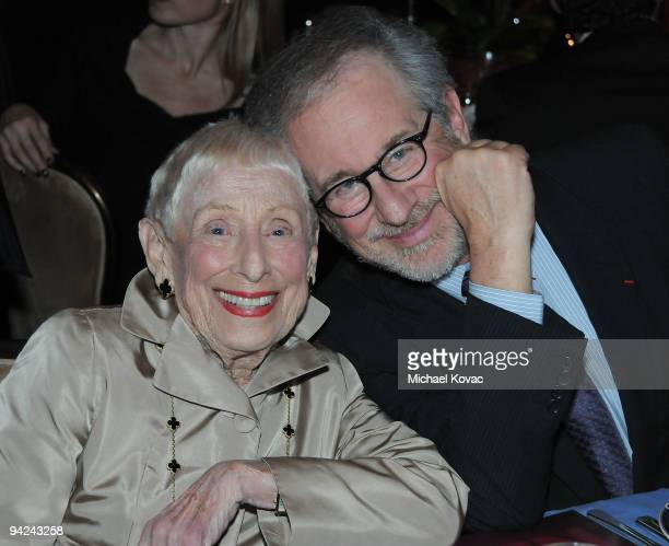 Director Steven Spielberg and his mother Leah Adler attend the ADL Los Angeles Dinner Honoring Steven Spielberg at The Beverly Hilton Hotel on...