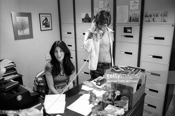 Director Steven Spielberg and his secretary in his Universal studios office in December 1975 in Los Angeles California