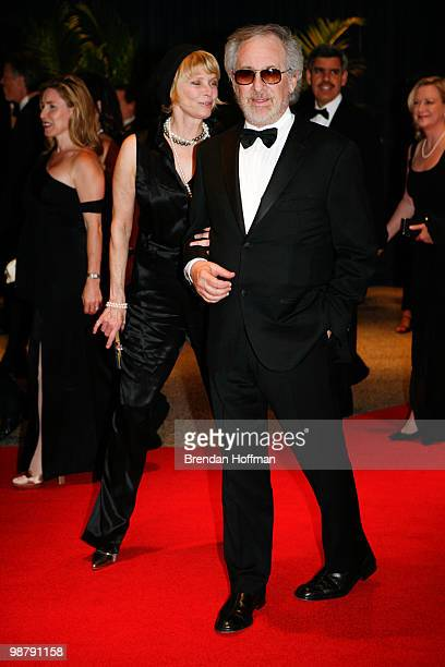 Director Steven Spielberg and his wife actress Kate Capshaw arrive at the White House Correspondents' Association dinner on May 1 2010 in Washington...