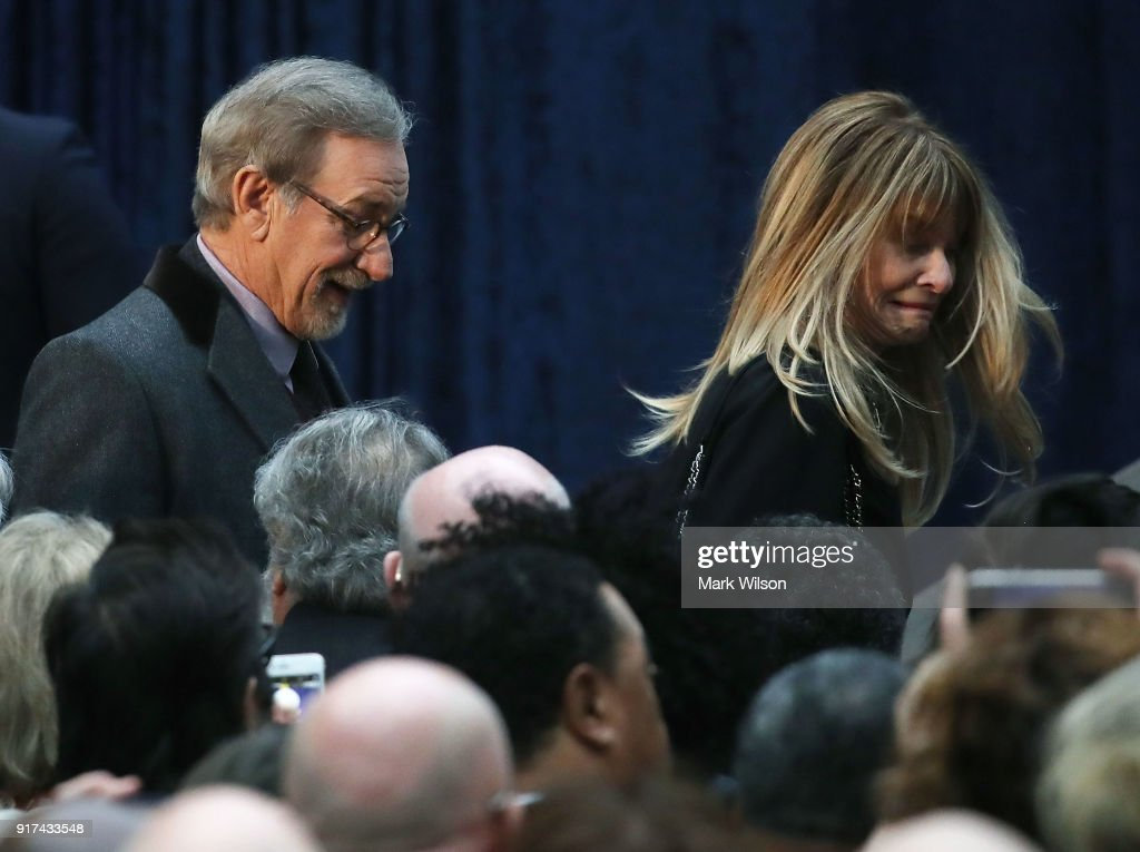Director Steven Spielberg and his wife, actress Kate Capshaw attend the official portrait unveiling of former U.S. President Barack Obama and first lady Michelle Obama, at the Smithsonian's National Portrait Gallery, on February 12, 2018 in Washington, DC. The portraits were commissioned by the Gallery, for Kehinde Wiley to create President Obama's portrait, and Amy Sherald that of Michelle Obama.