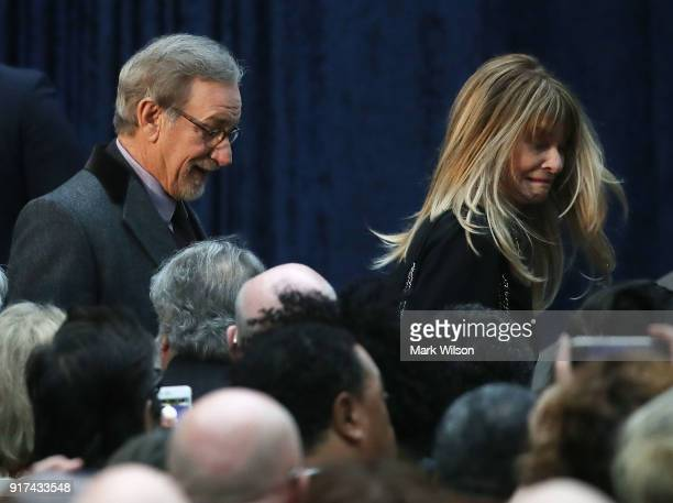 Director Steven Spielberg and his wife actress Kate Capshaw attend the official portrait unveiling of former US President Barack Obama and first lady...