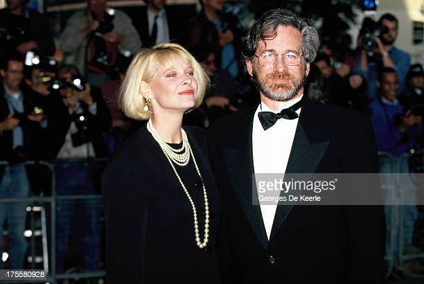 Director Steven Spielberg and his wife Kate Capshaw attend a premiere in 1990 ca in London England