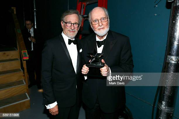 Director Steven Spielberg and honoree John Williams pose with the AFI Life Achievement Award backstage during American Film Institute's 44th Life...